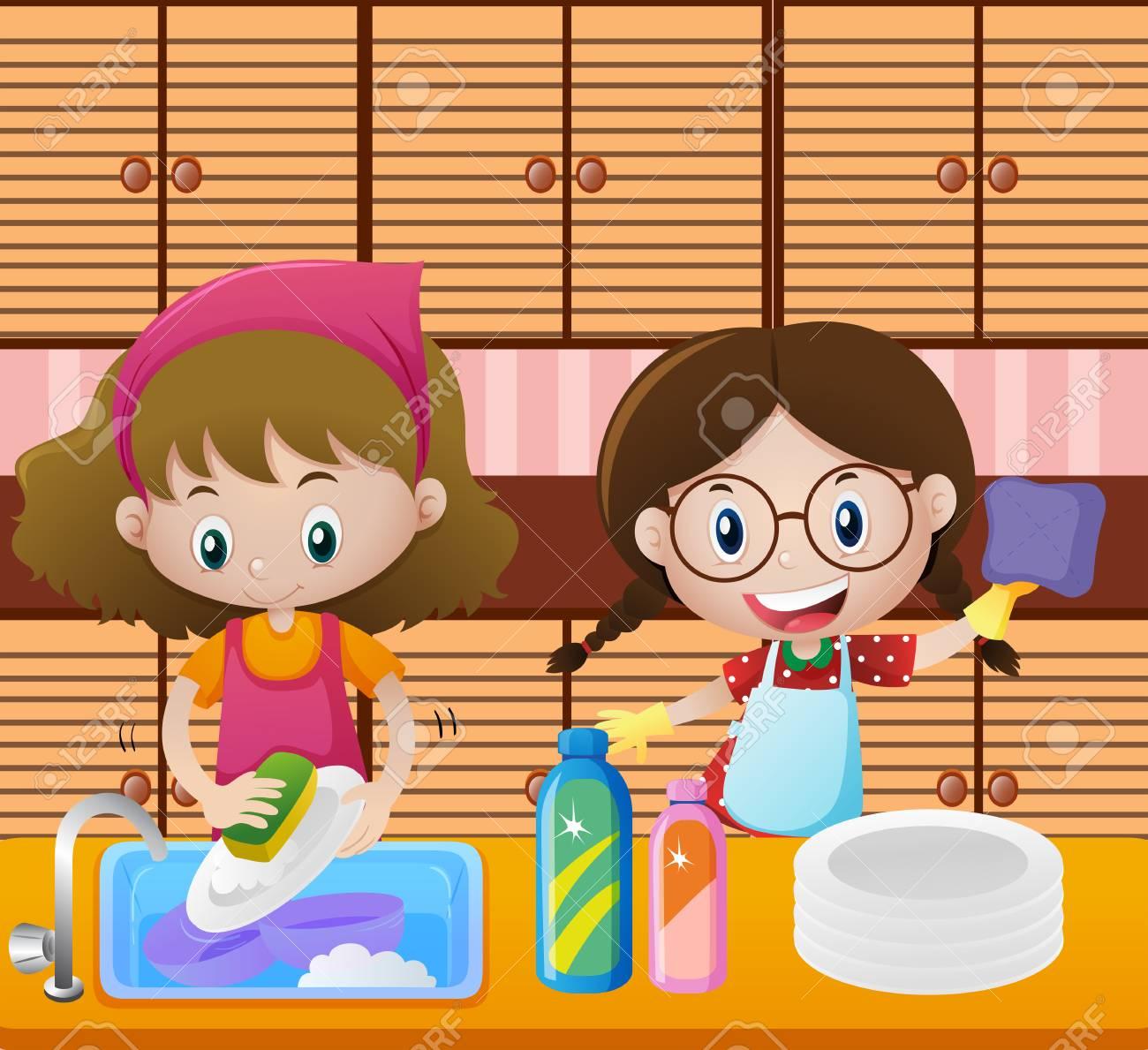 Mädchen Reinigung Geschirr In Küche Illustration Lizenzfrei Nutzbare ...