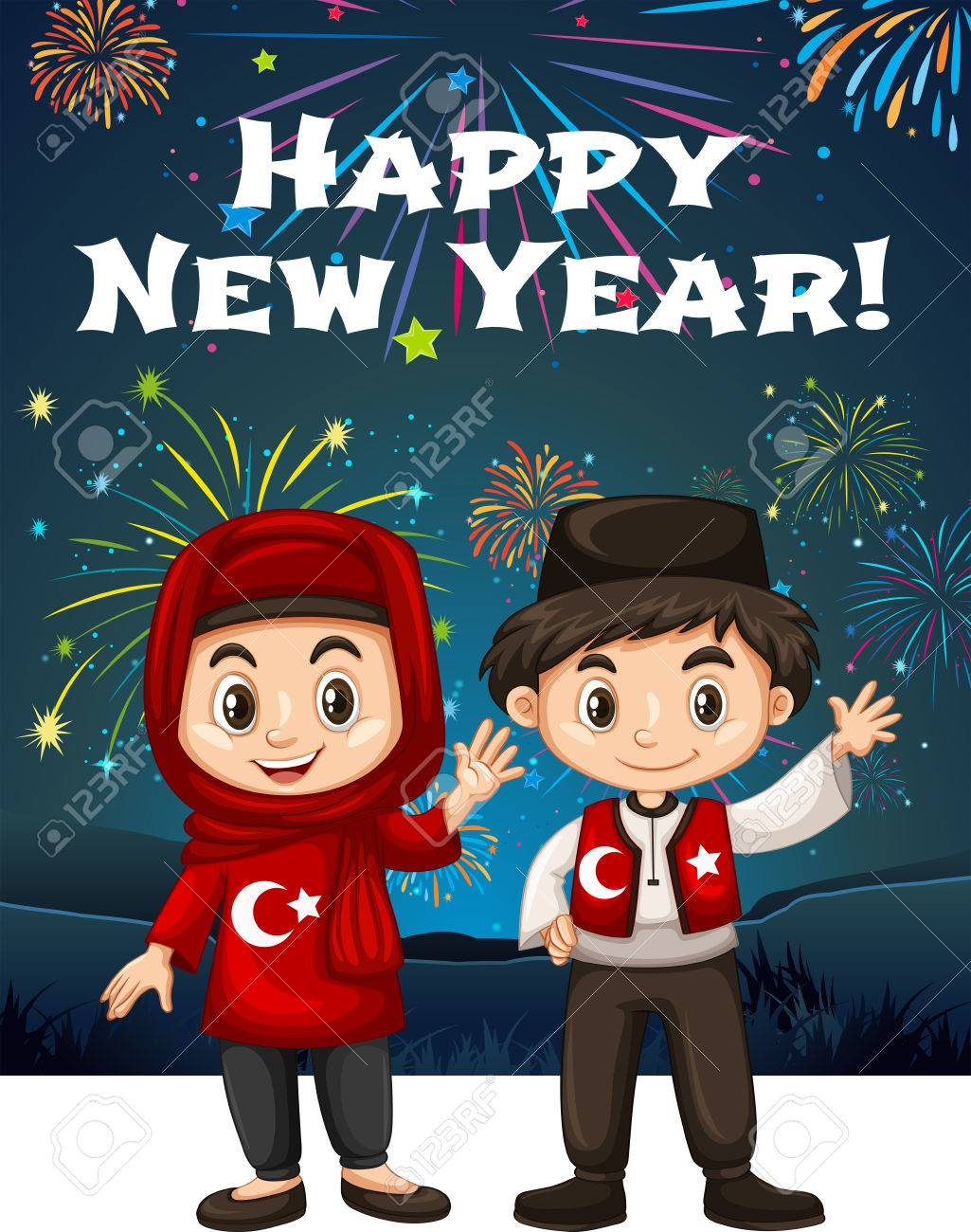 Turkish Kids On New Year Card Illustration Royalty Free Cliparts