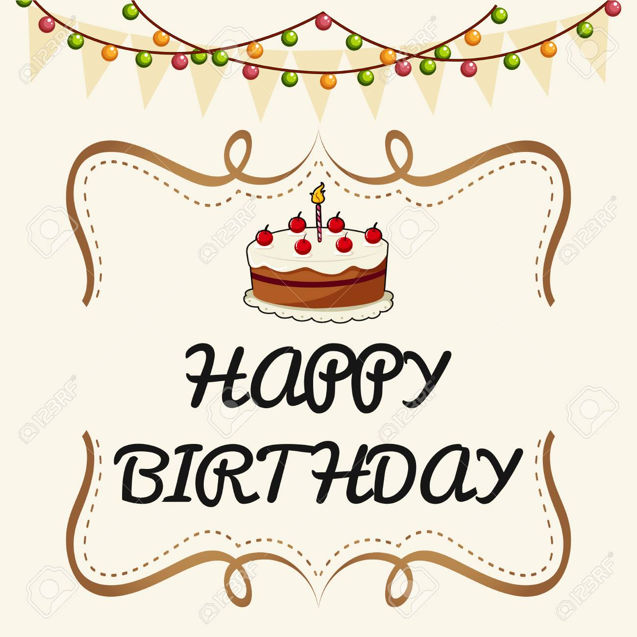 Happy Birthday Card Template With Cake And Lights Illustration Stock Vector    81697201