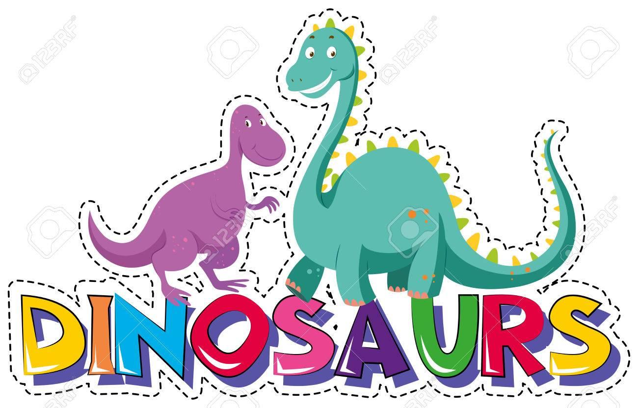 Aufkleber Vorlage Für Wort Dinosaurier Illustration Lizenzfrei ...