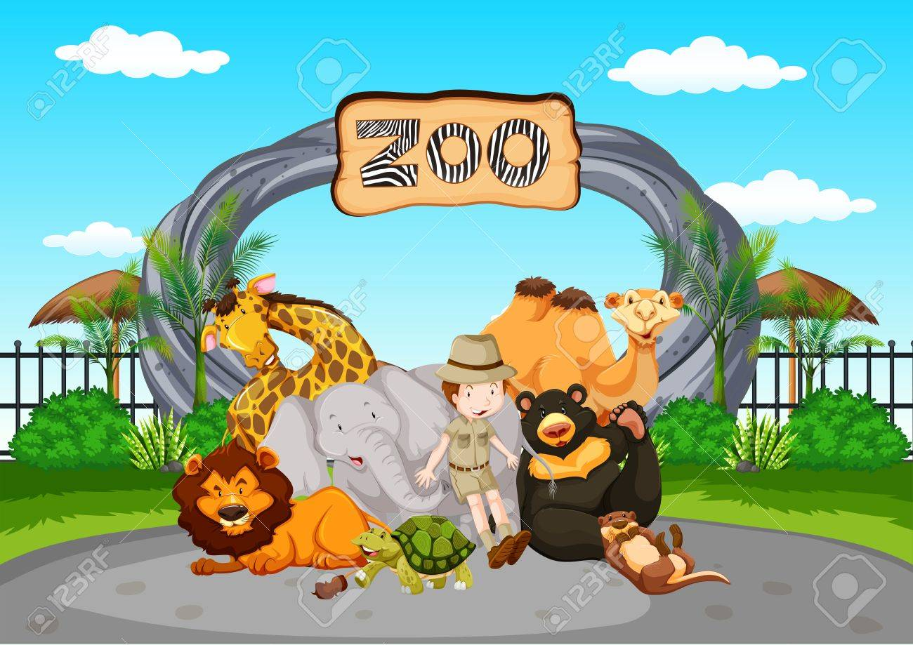 Scene at the zoo with zookeeper and animals illustration - 81697605