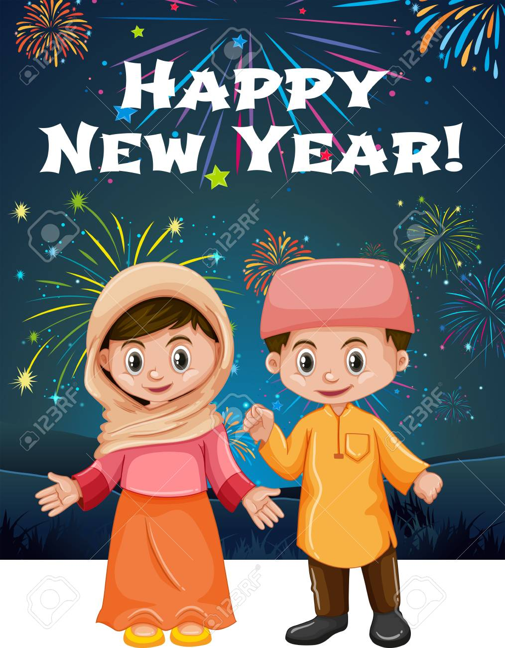 happy new year card template with muslim kids illustration stock vector 81697591