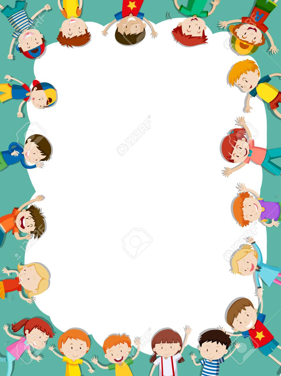 Border template with happy children in background illustration