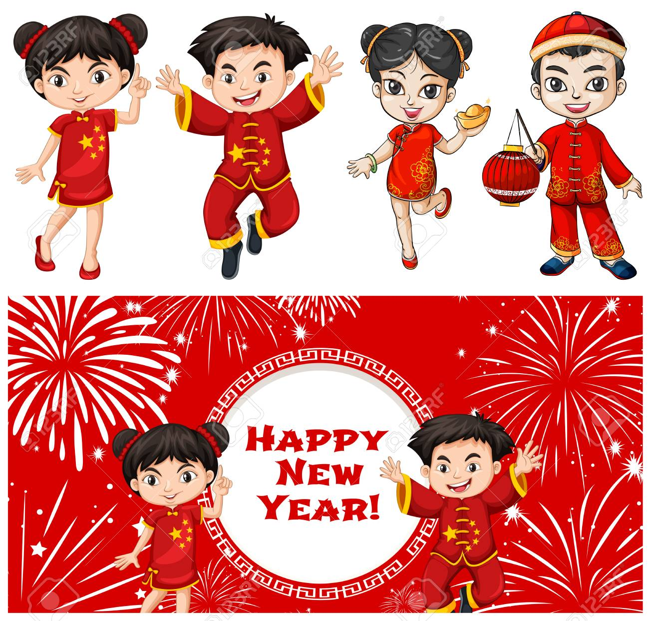happy kids and chinese new year card template illustration royalty