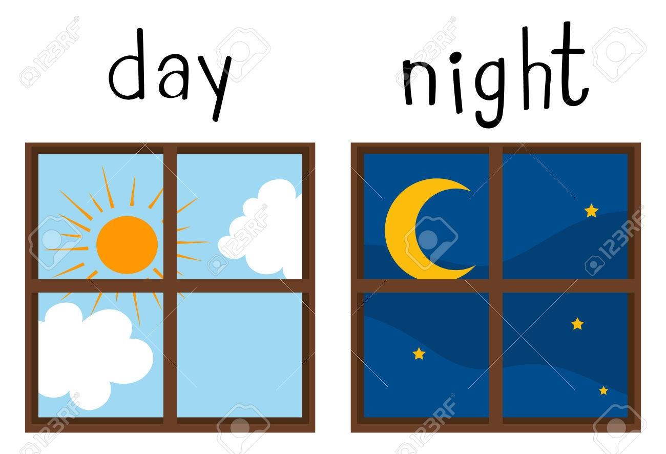 Opposite wordcard for day and night illustration - 83486434