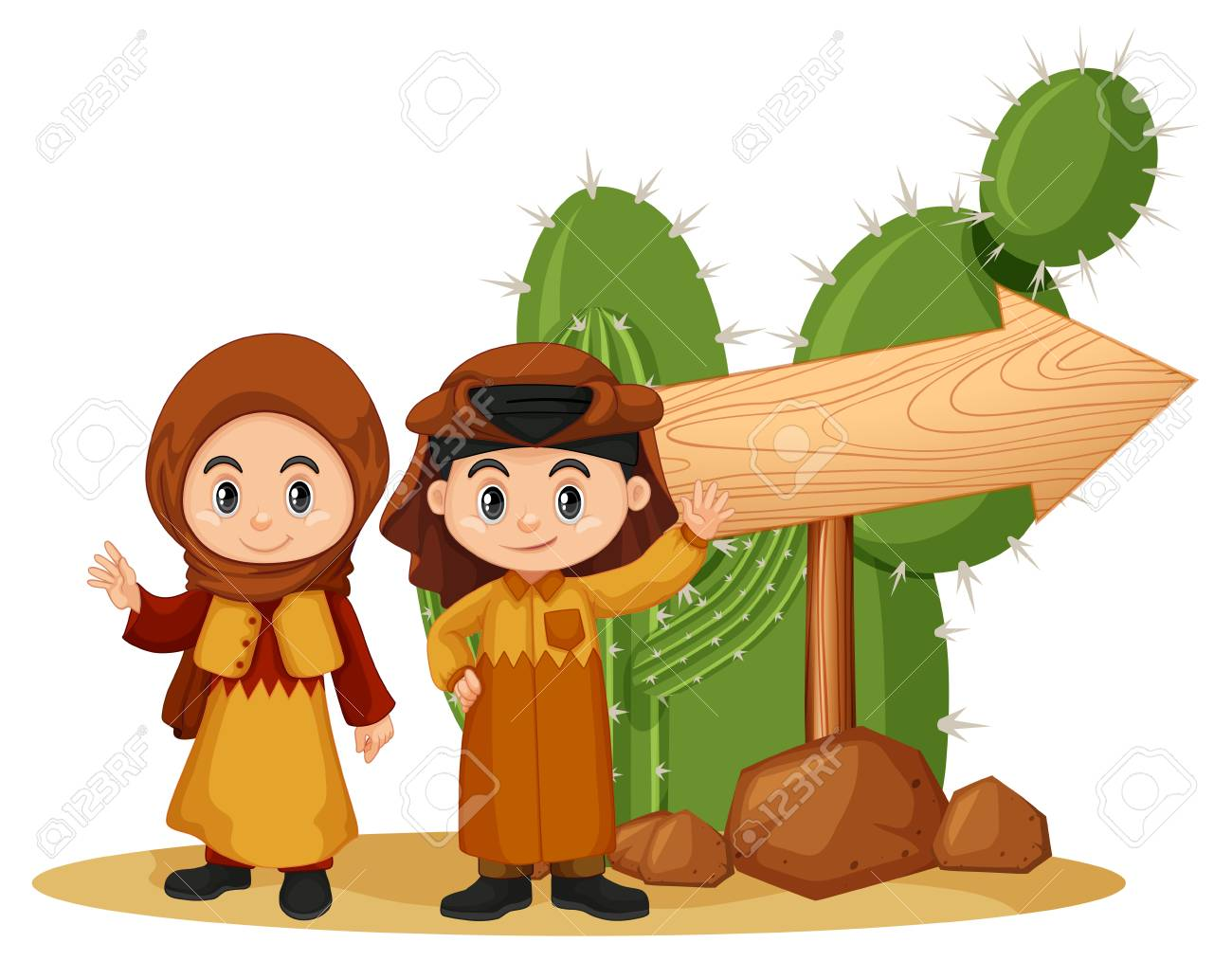 wooden sign template with kids in arab clothes illustration royalty