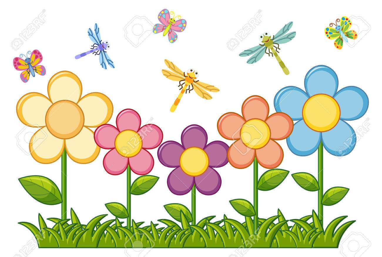 butterflies and dragonflies in flower garden illustration royalty free cliparts vectors and stock illustration image 84927280 butterflies and dragonflies in flower garden illustration