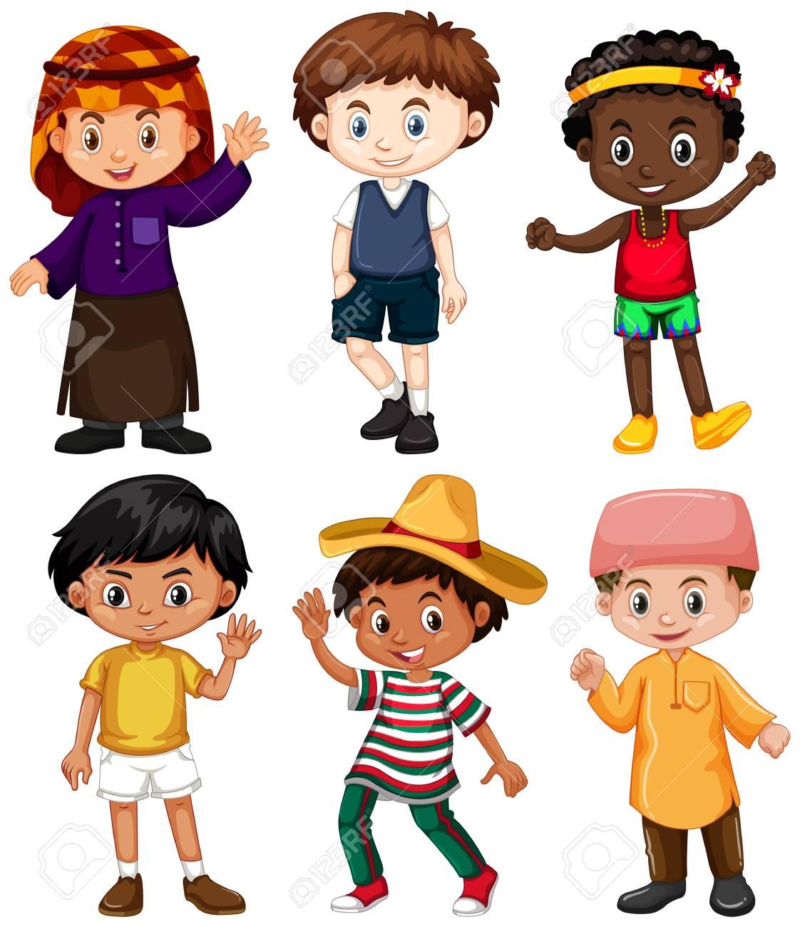 異なる国から6人の少年がイラストのイラスト素材 ベクタ Image