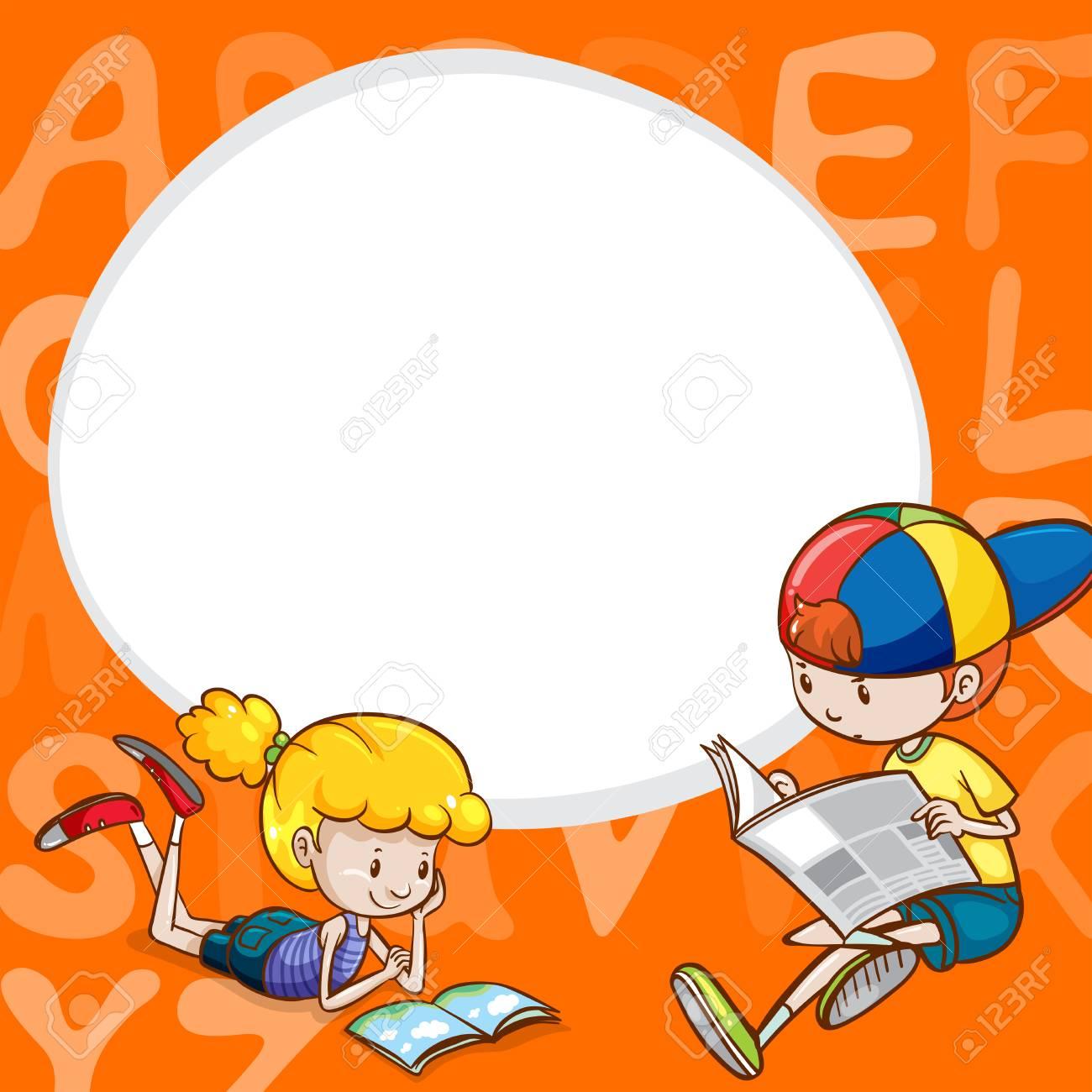 Plantilla De Borde Con Dos Niños Leyendo La Ilustración De Libros ...