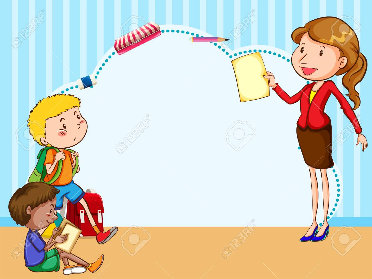 border template with kids and teacher illustration royalty free