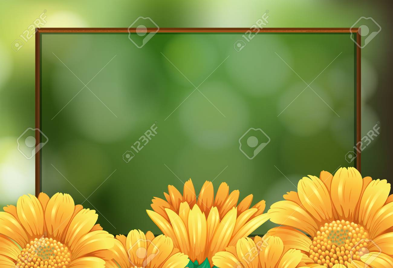 Border Template With Yellow Flowers Illustration Royalty Free