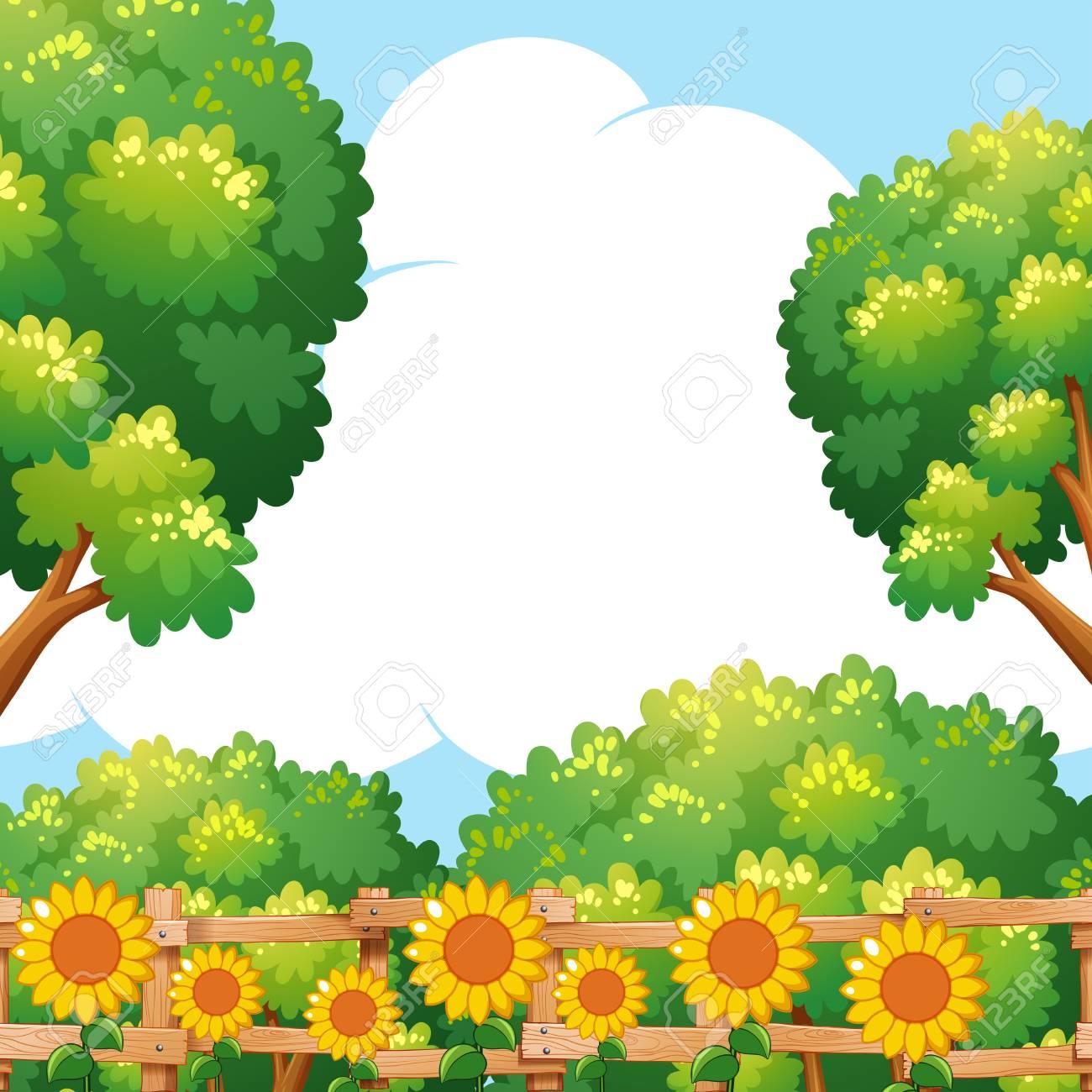 Background scene with sunflowers in garden illustration.
