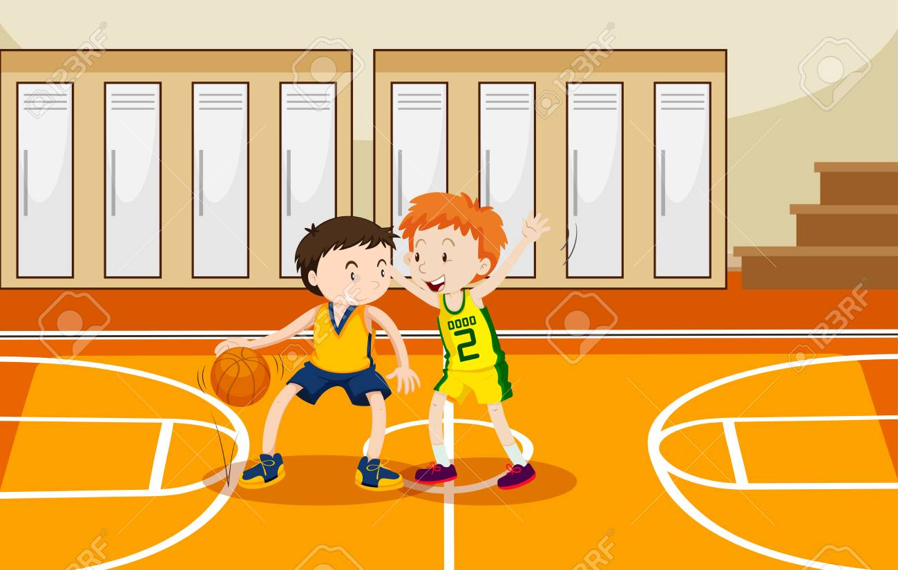 two boys playing basketball in the gym illustration royalty free rh 123rf com gym clipart png gym clipart pictures