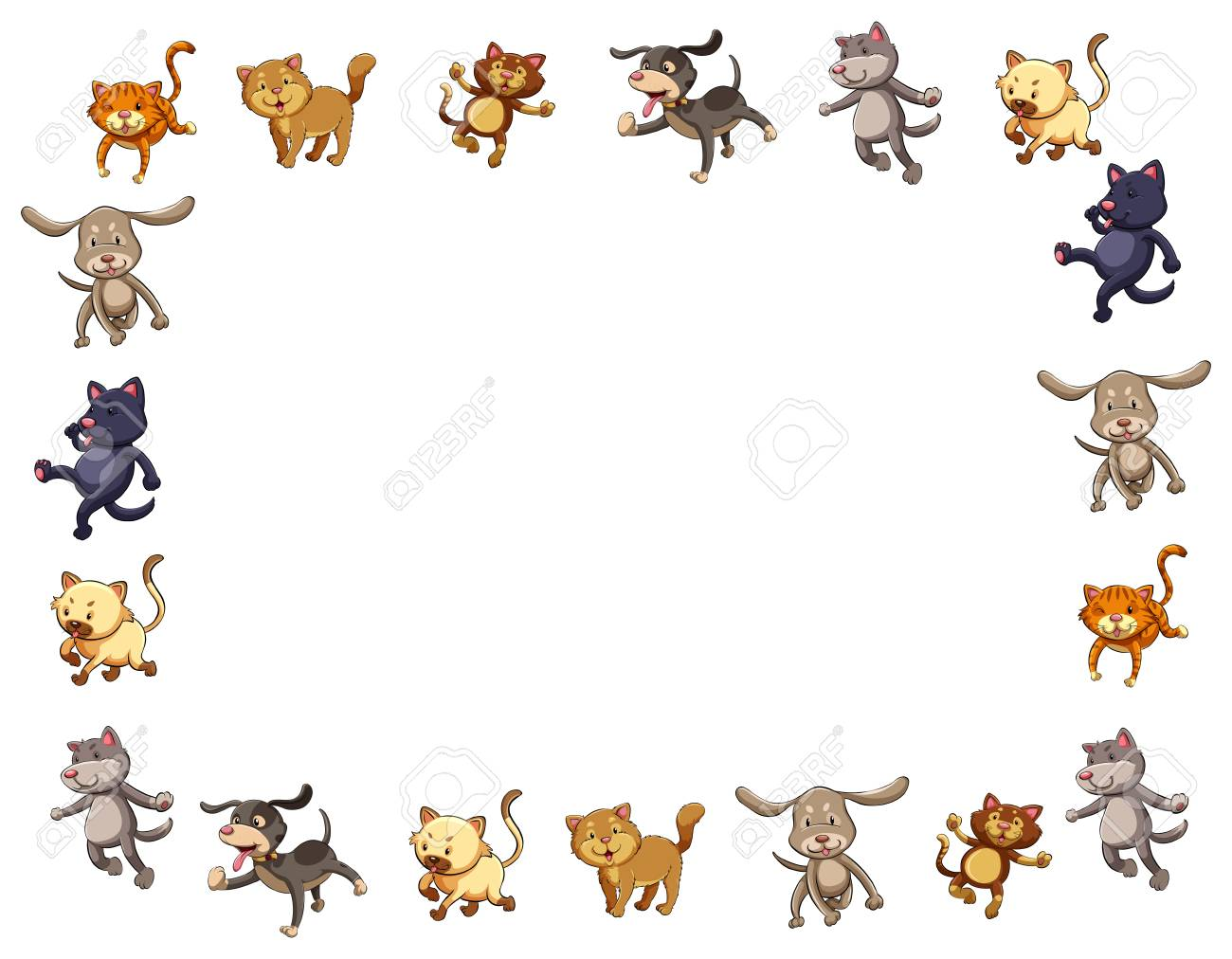 Border Template With Cute Cats And Dogs Illustration Royalty Free Cliparts Vectors And Stock Illustration Image 91243030