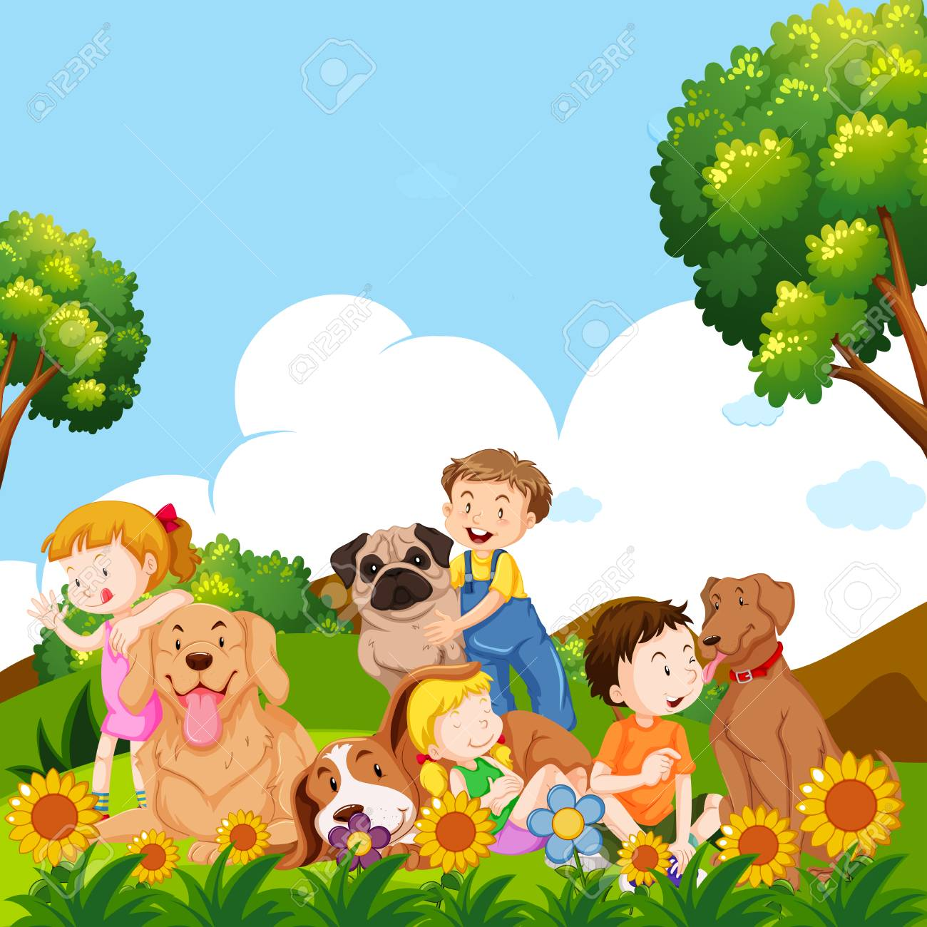 Children and pet dogs in garden illustration.