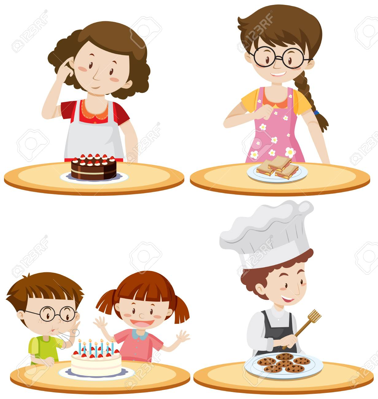 People and different food on tables illustration - 94422426