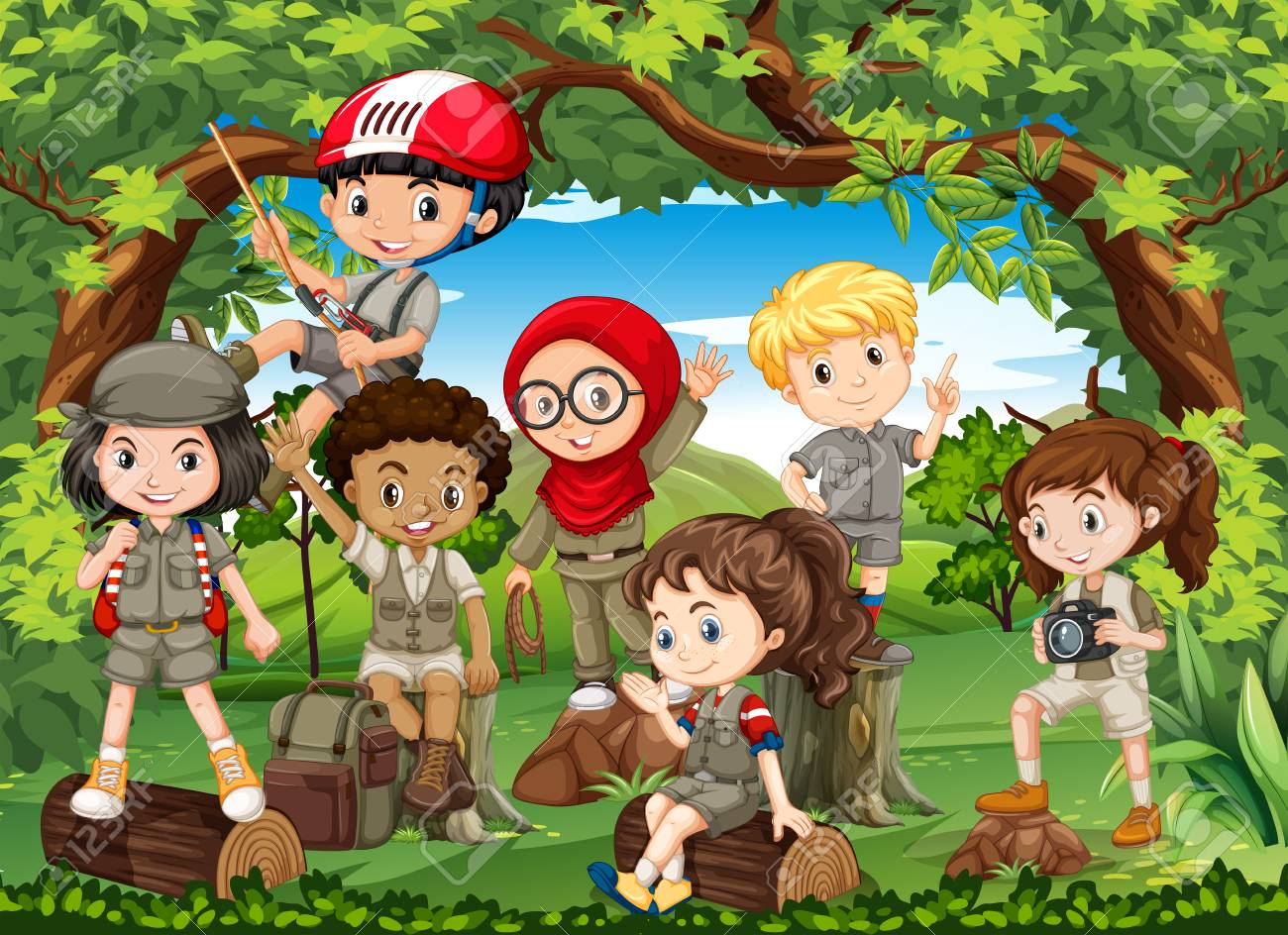 Many children hiking in the forest illustration