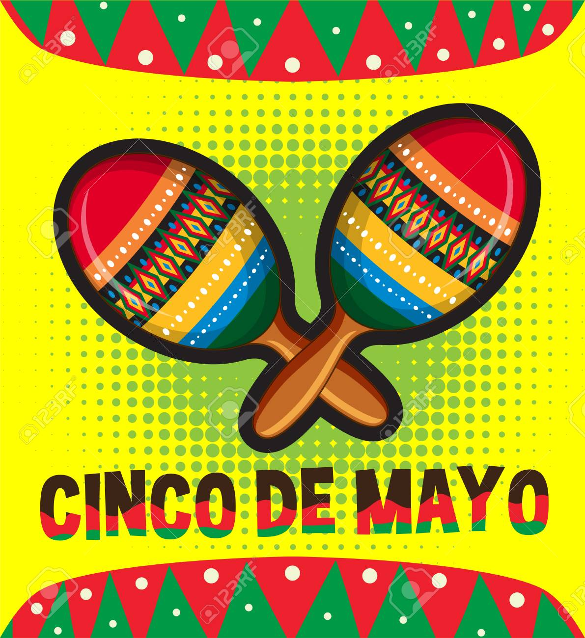 cinco de mayo card template with maracas illustration royalty free