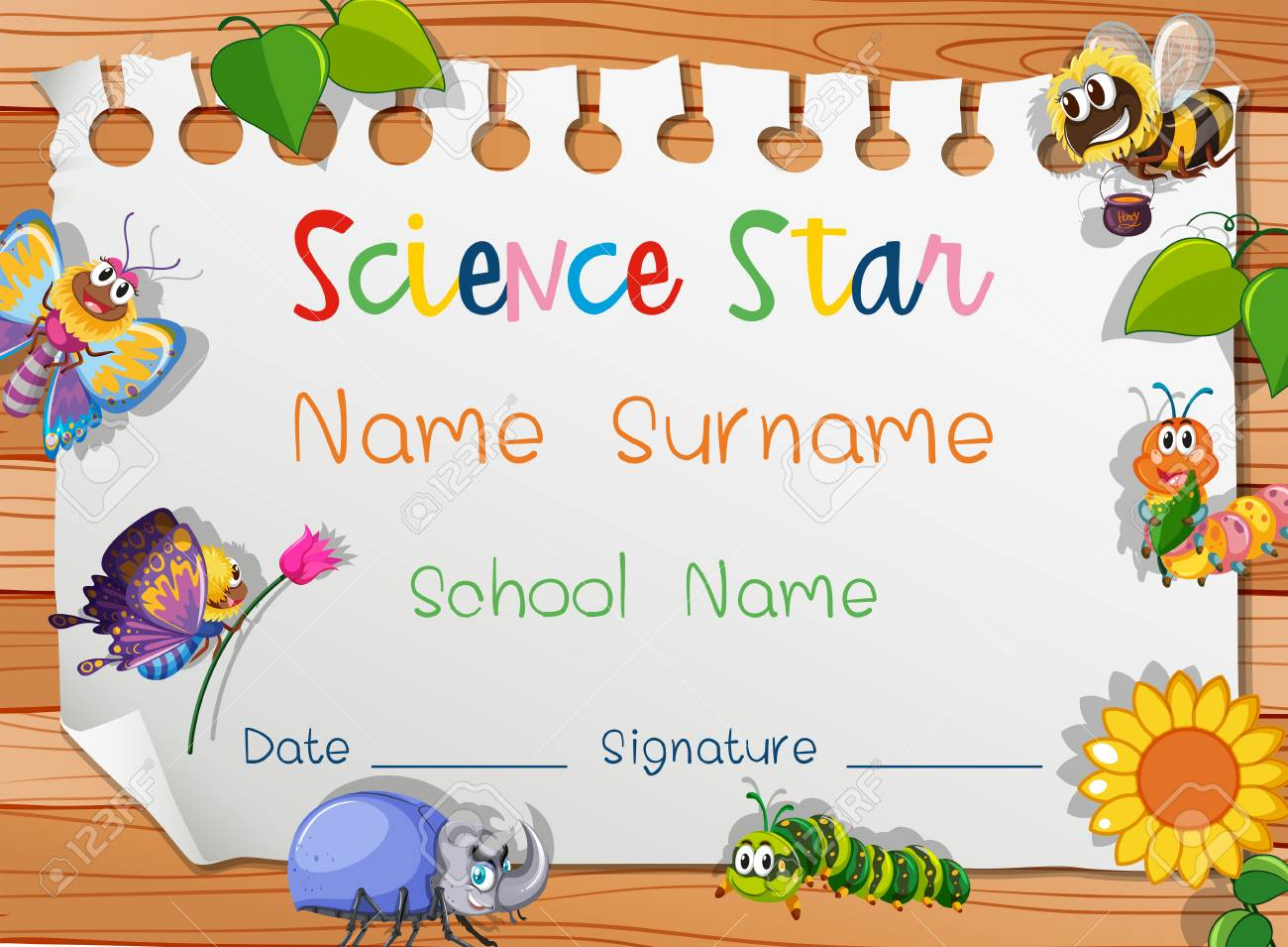 Certificate template for science star illustration royalty free certificate template for science star illustration stock vector 96116941 yelopaper Choice Image