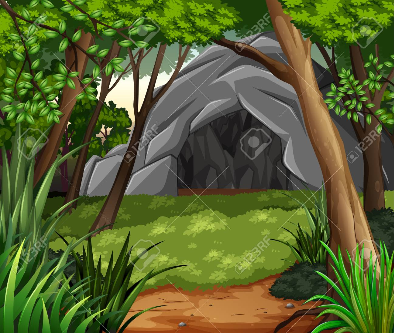 A Background scene with cave in forest illustration - 96117066