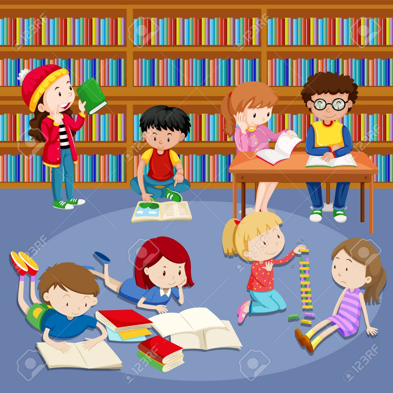 Many Kids Reading Books In Library Illustration Royalty Free Cliparts Vectors And Stock Illustration Image 96112489