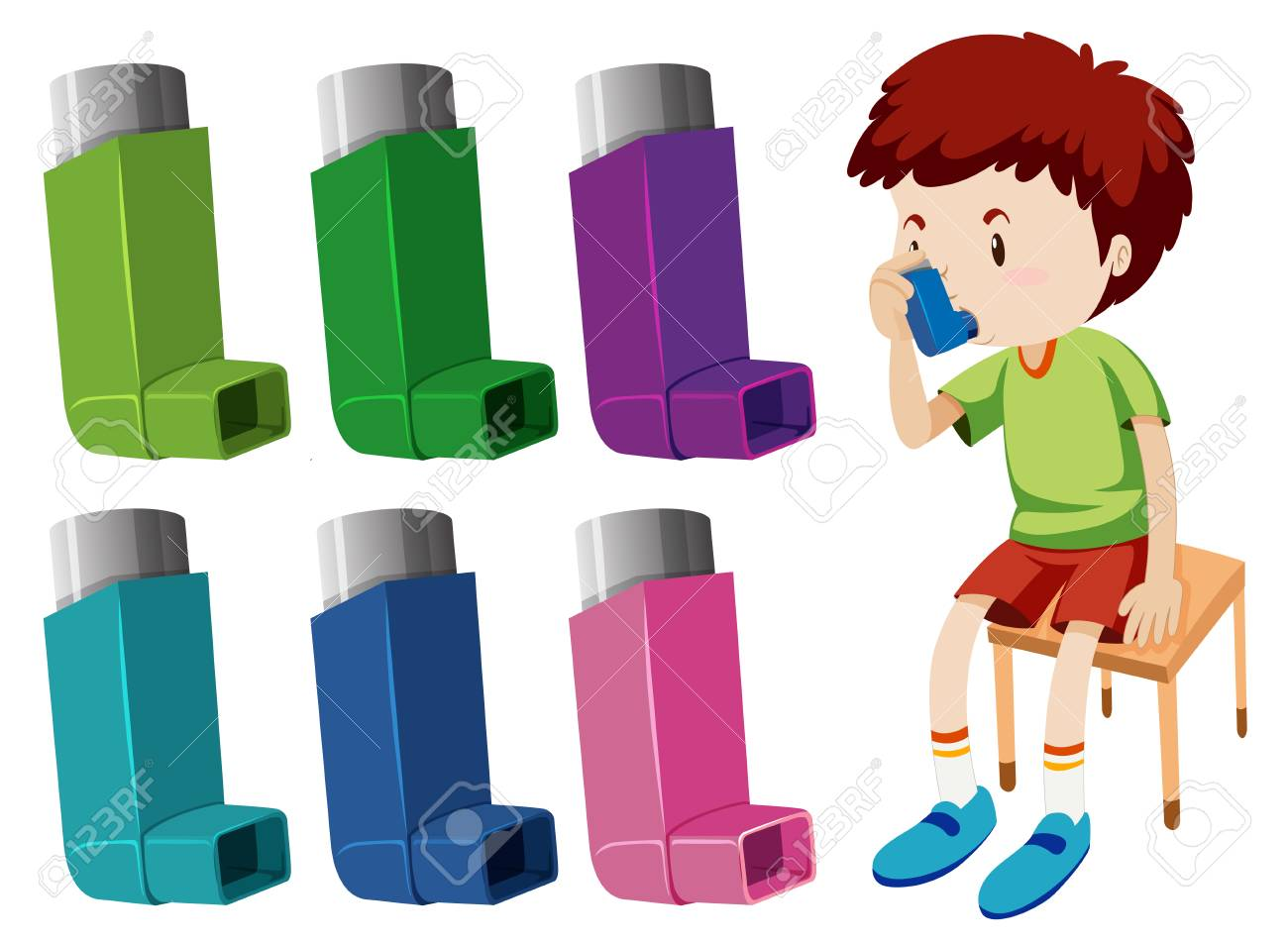 Boy with asthma with different asthma inhalers illustration - 102127121