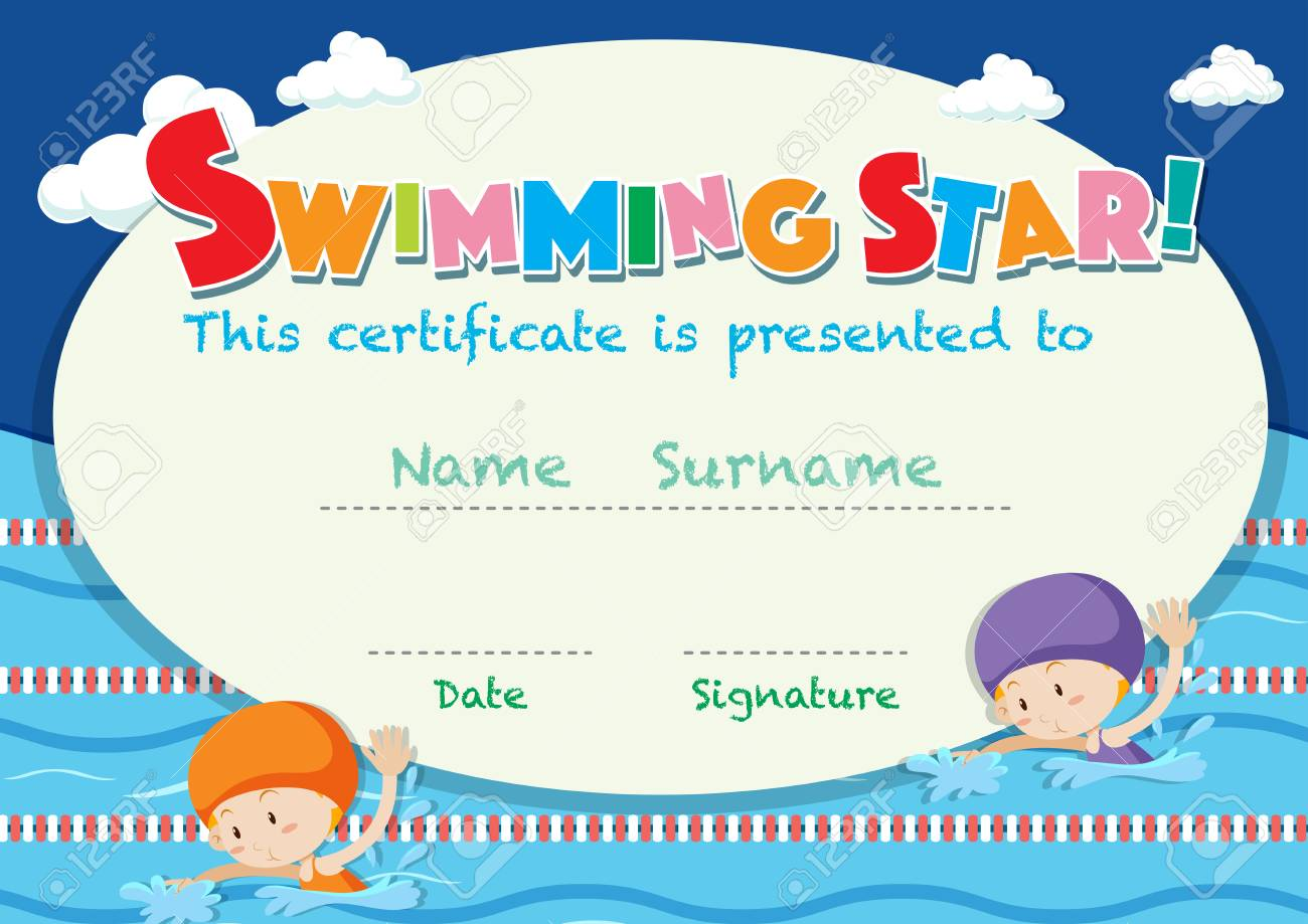 Certificate Template With Kids Swimming Illustration Royalty Free