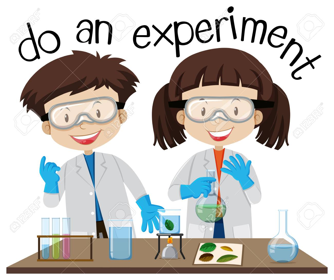 Two Kids Doing Experiment In Science Lab Illustration Royalty Free Cliparts Vectors And Stock Illustration Image 98032443