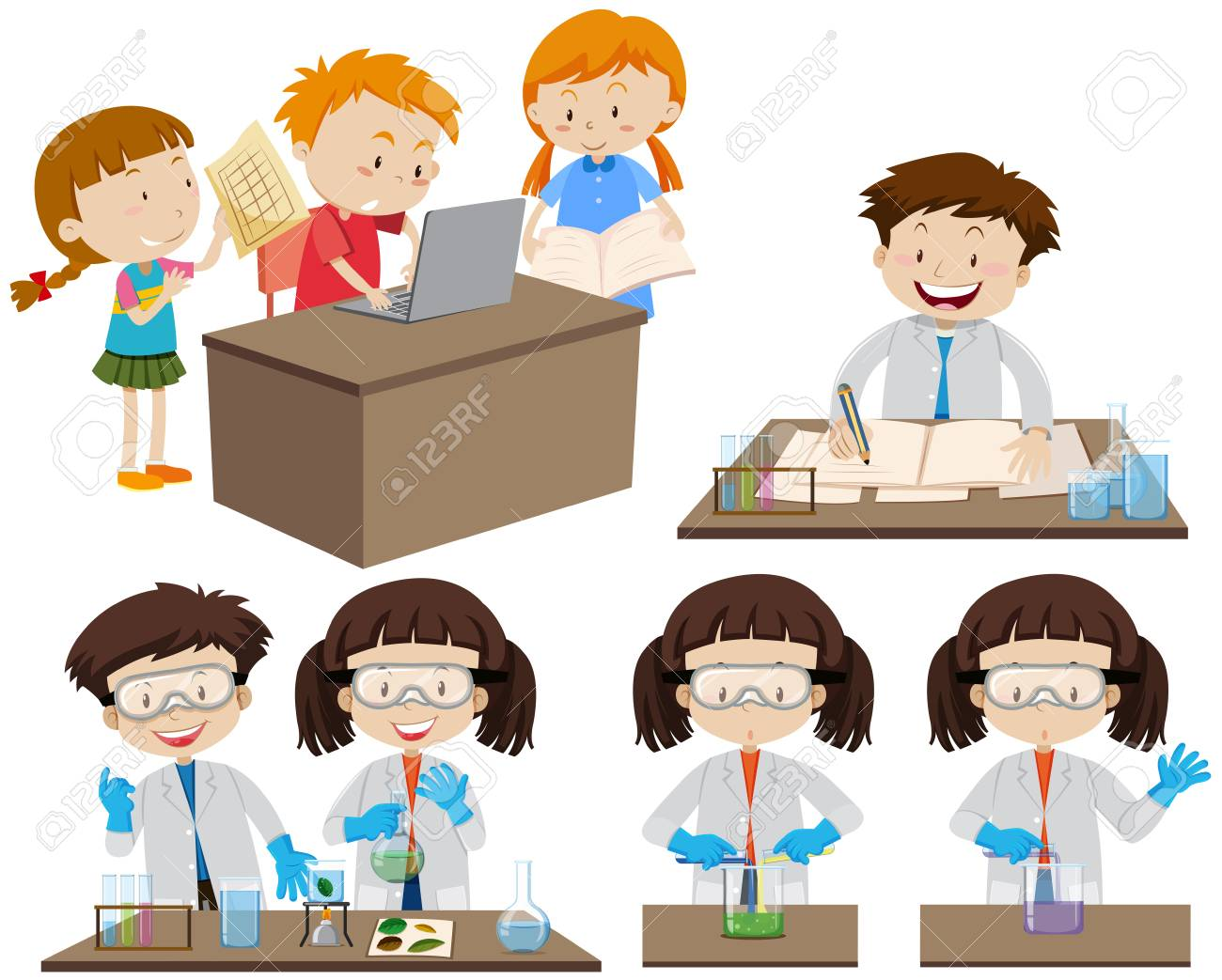 Students working in lab and on computer illustration - 97836952