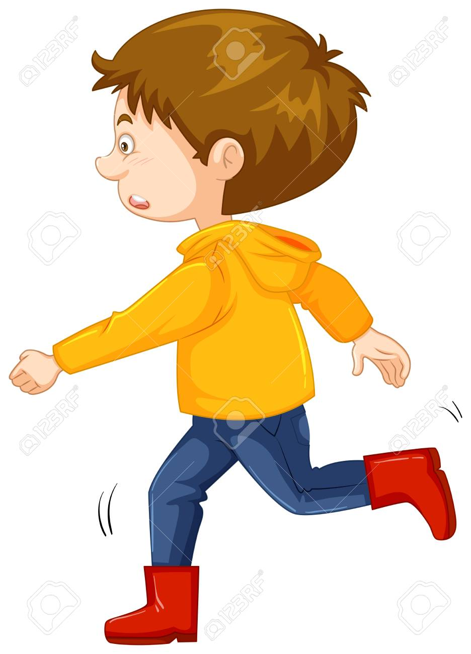 A Little Boy In A Yellow Jacket With Hood And Red Boots Cartoon