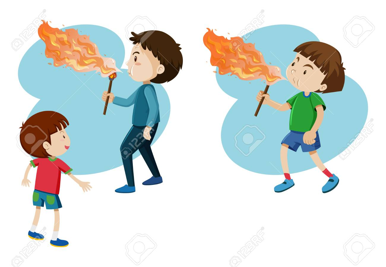 Boys Blowing Fire On Stick On A Vector Cartoon Illustration