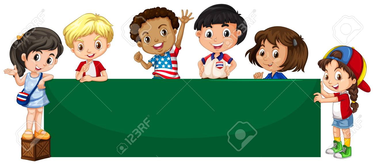 Green Large Envelope Image And A Happy Kids On Cartoon Illustration Fro Banner Background Stock