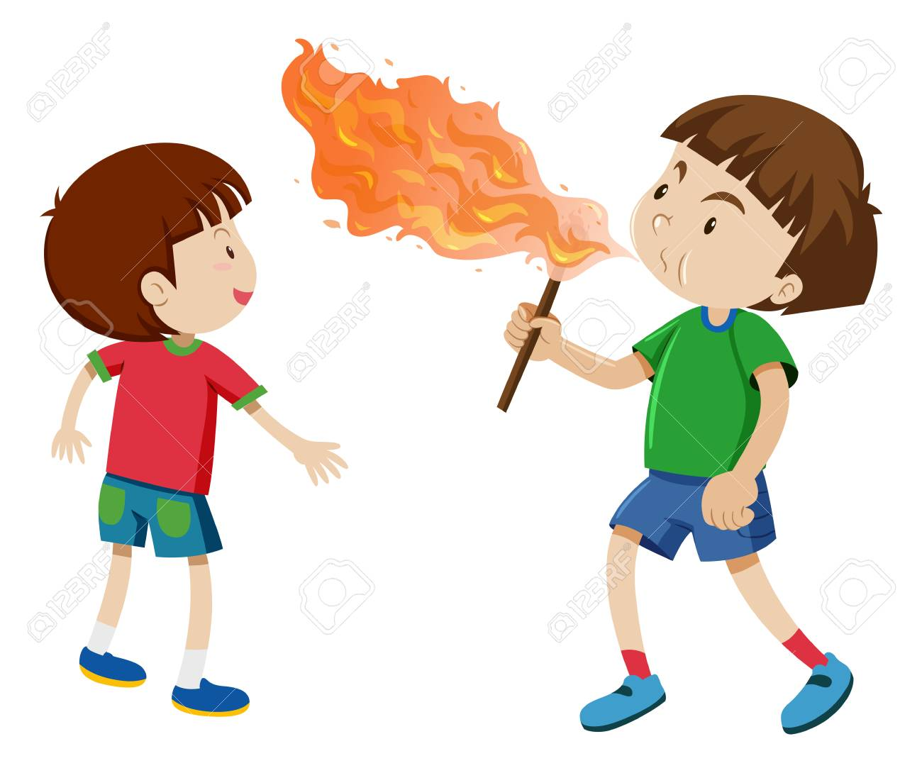 Boys Playing With Fire Illustration