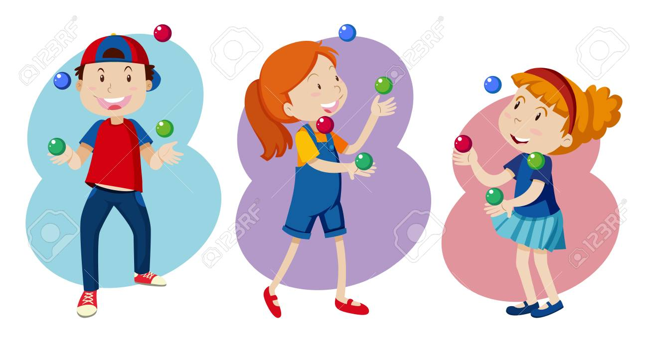 Kid are Playing colourful Juggling illustration - 100161392