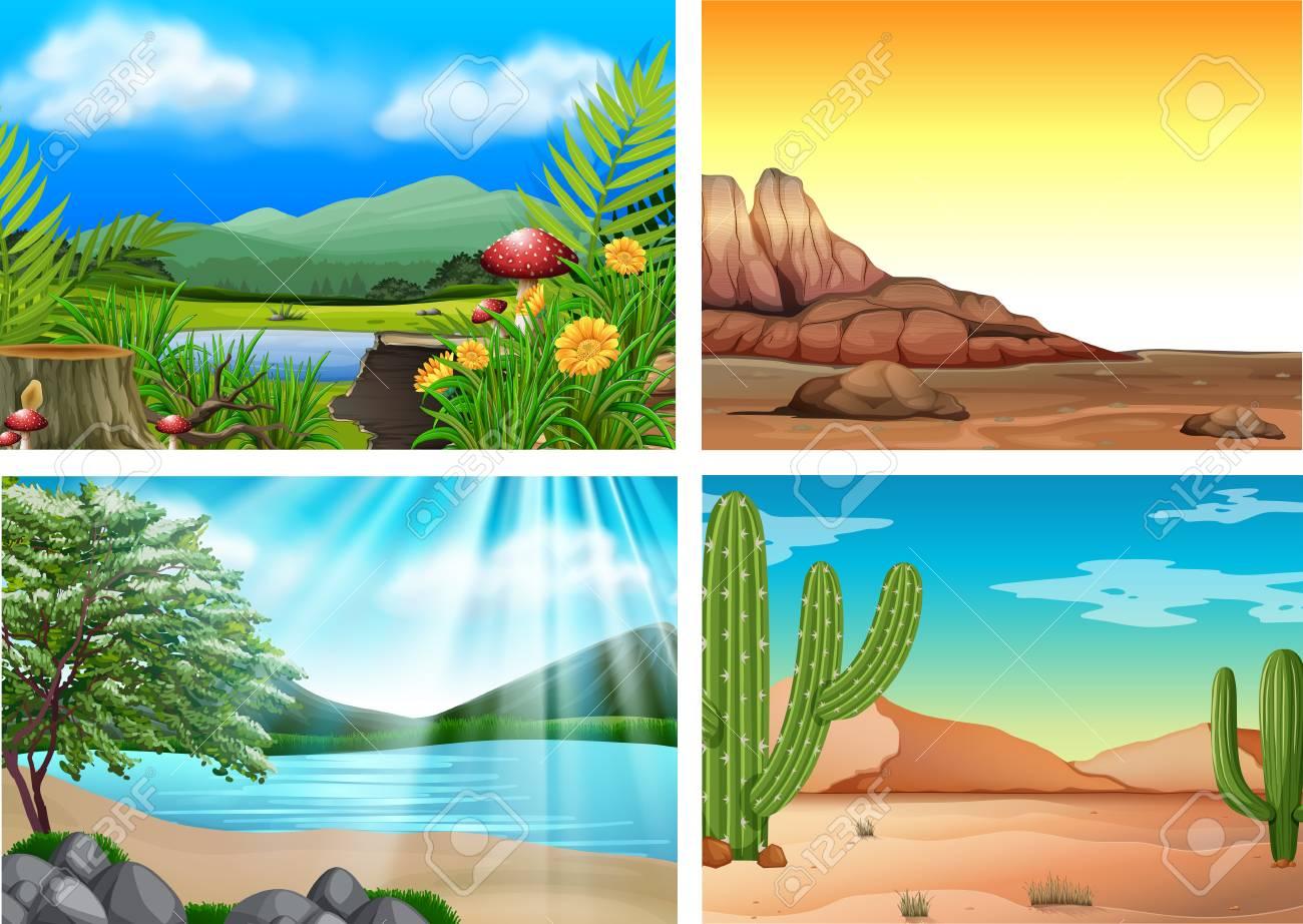 Four Different Landscape and Nature illustration - 100160477
