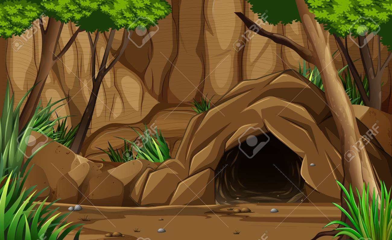 A Dark Rocky Cave from Outside illustration - 101086523