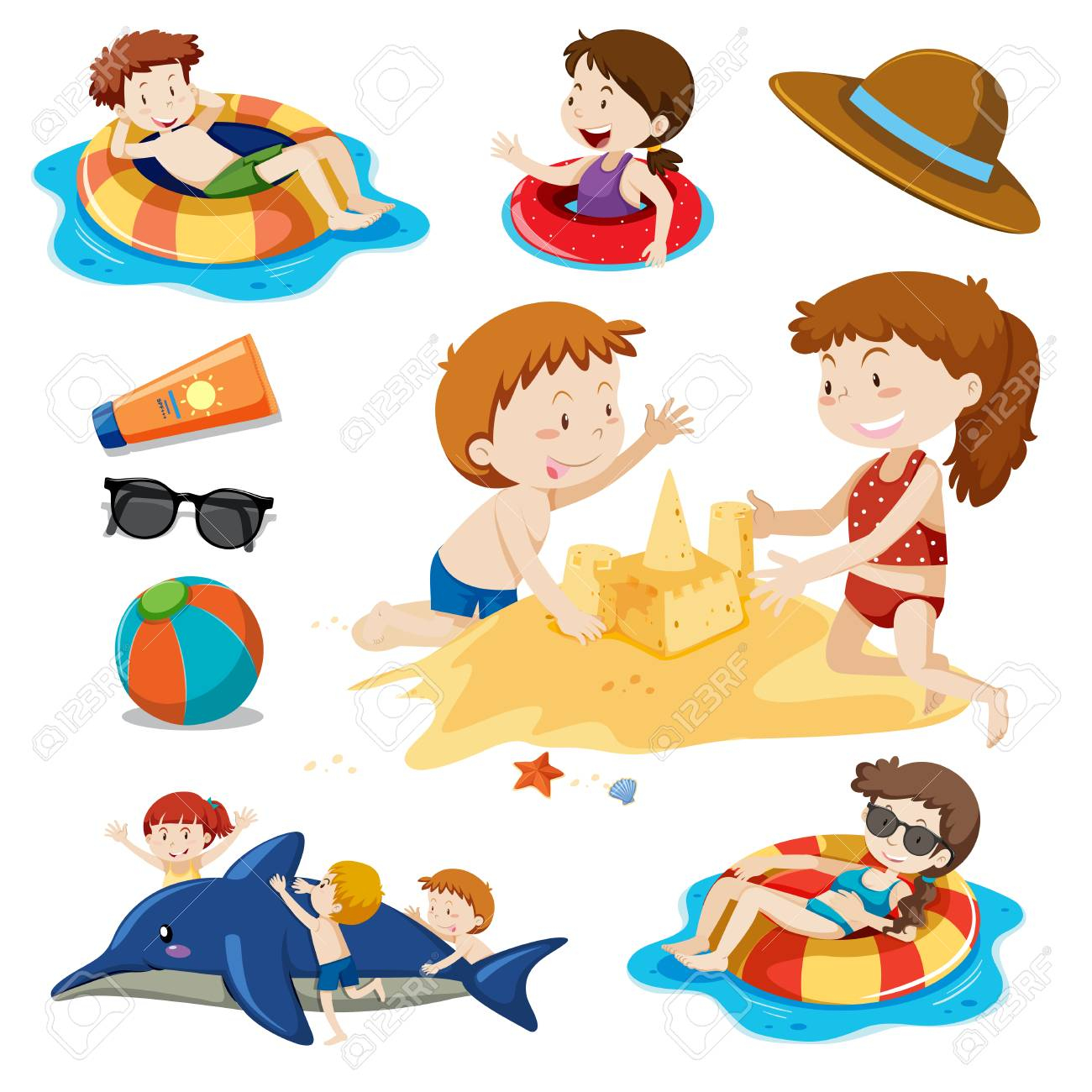 A Set of Children and Beach Activities illustration - 101914587