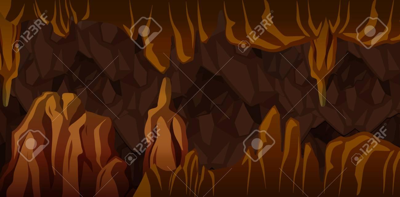 Underground cavern landscape scene illustration - 106550696