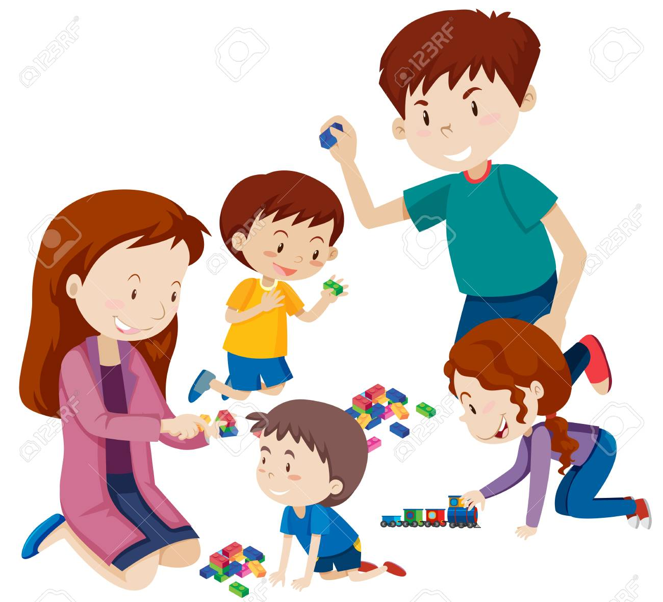 Parents Playing With Children Illustration Royalty Free Cliparts ...