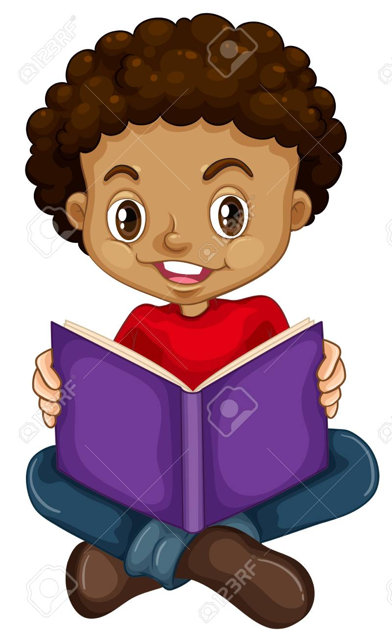 Young boy reading a book illustration - 111830311
