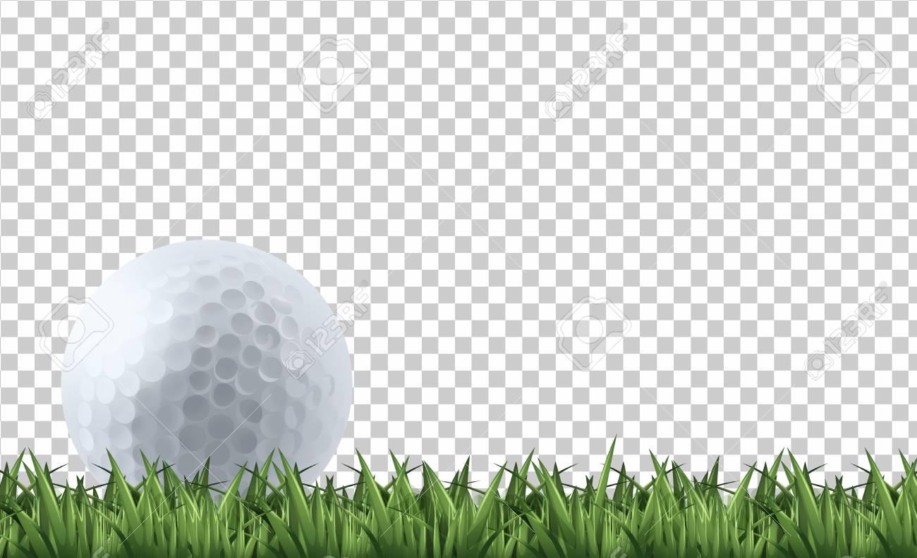 Golf ball on grass illustration - 107112744