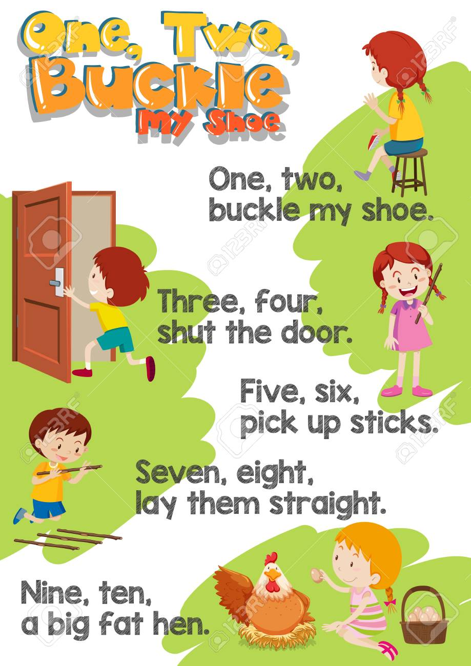 one two buckle my shoe illustration