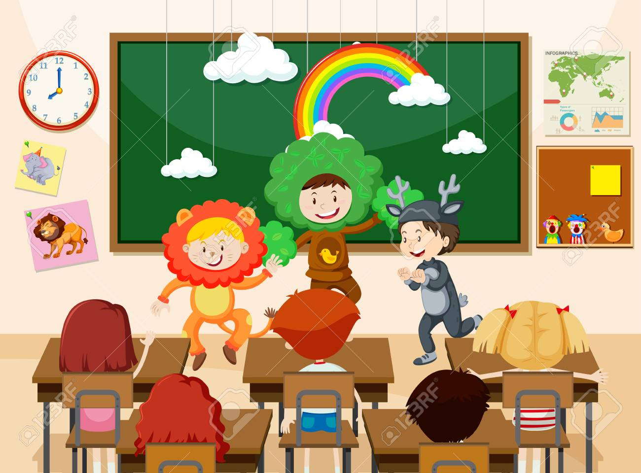 Children performing infront of class illustration - 109361318