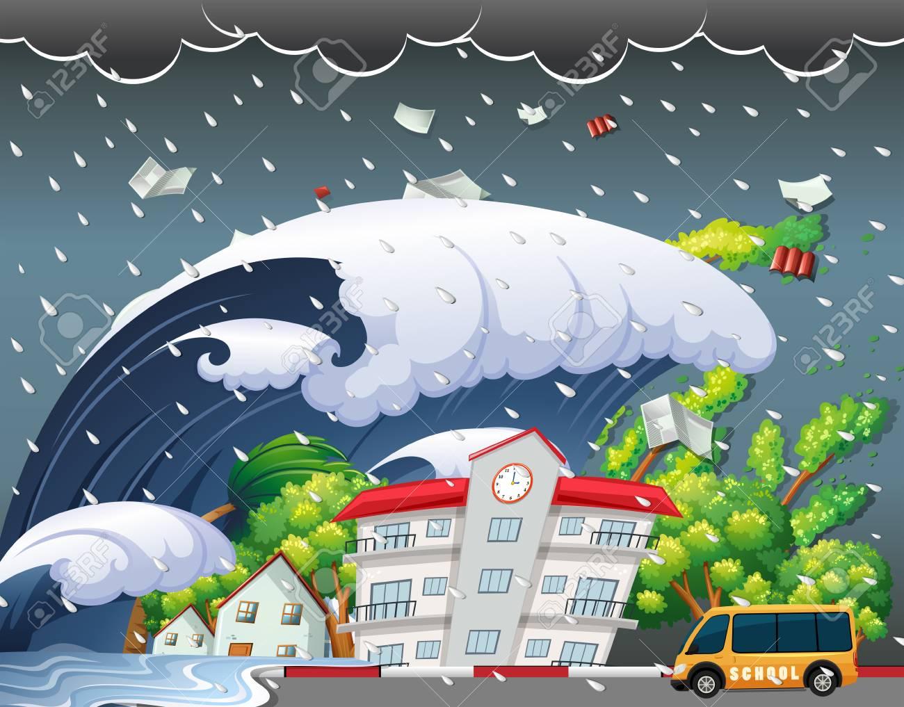 Tsunami hit school building illustration - 110200667