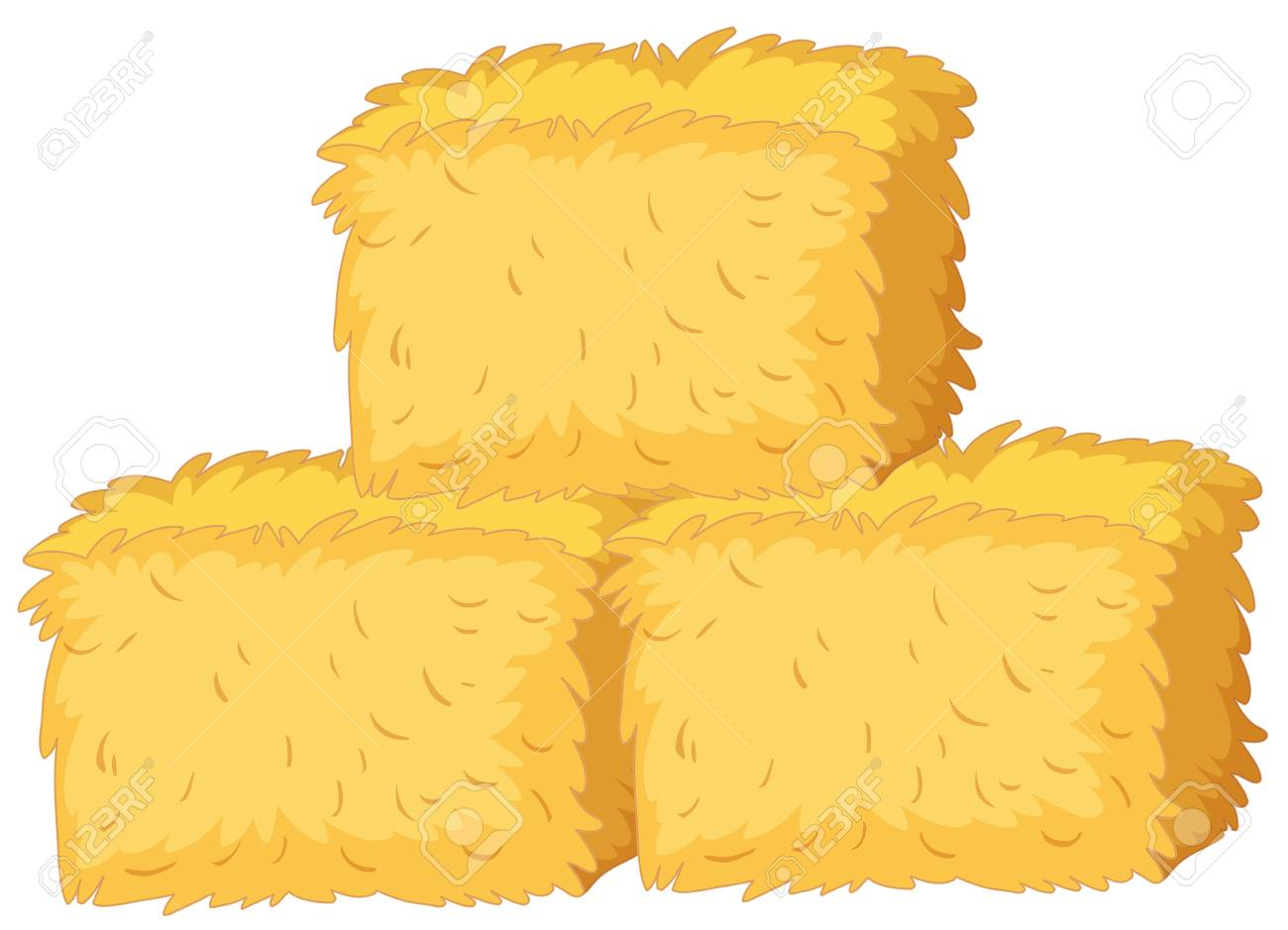 Bales of straw on white background illustration - 125822725