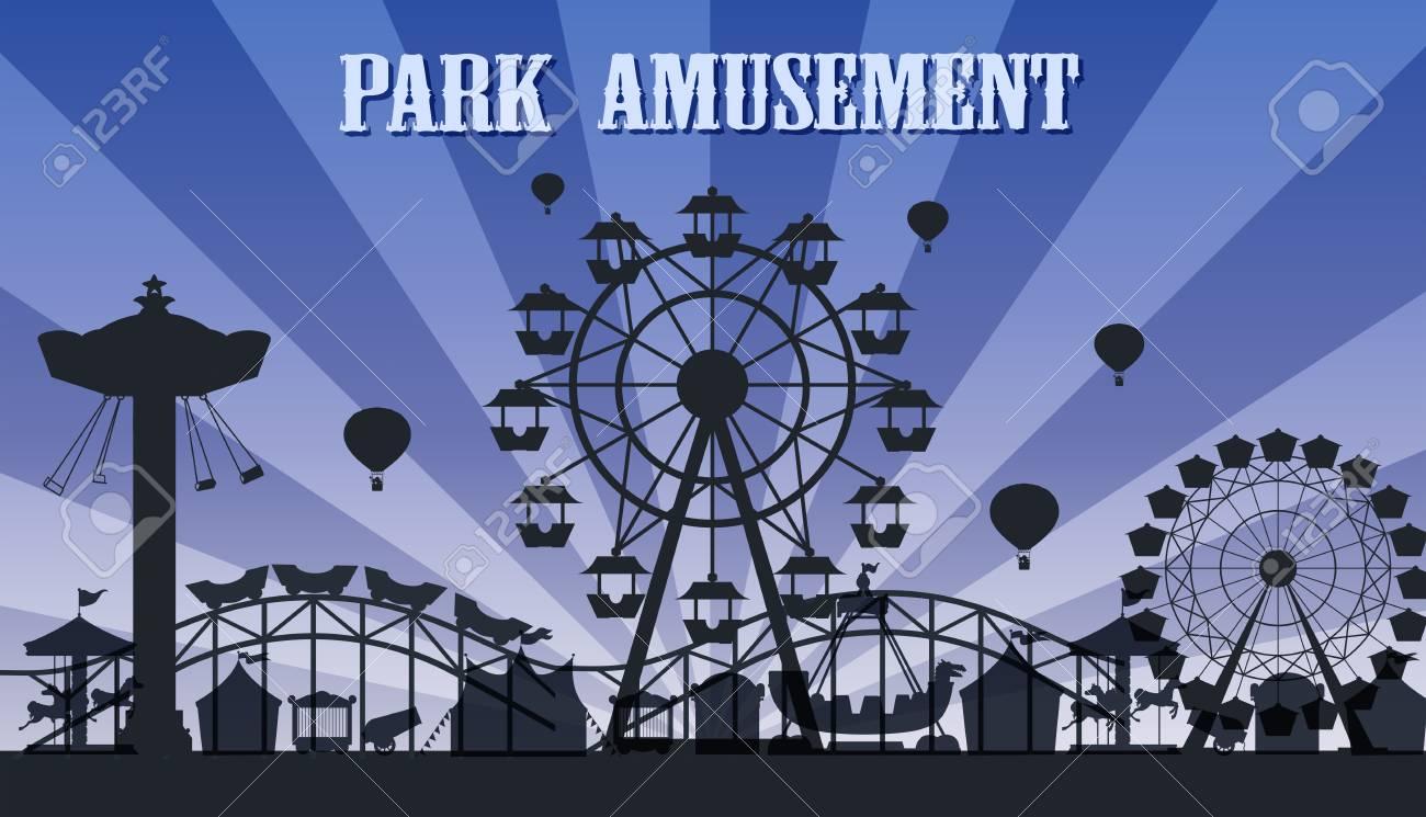 A silhouette amusement park template illustration - 116480876