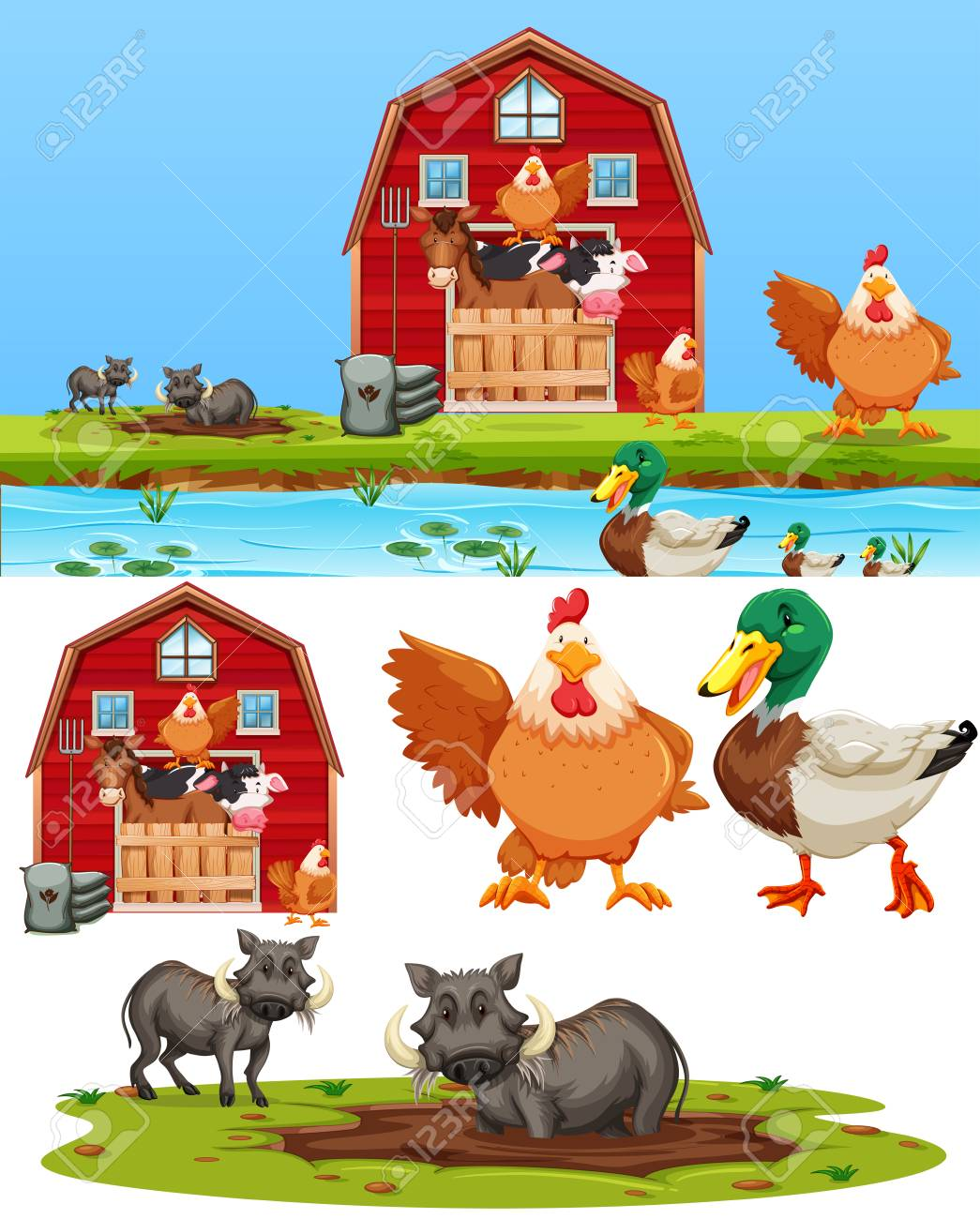 Set of farm element illustration - 125328777