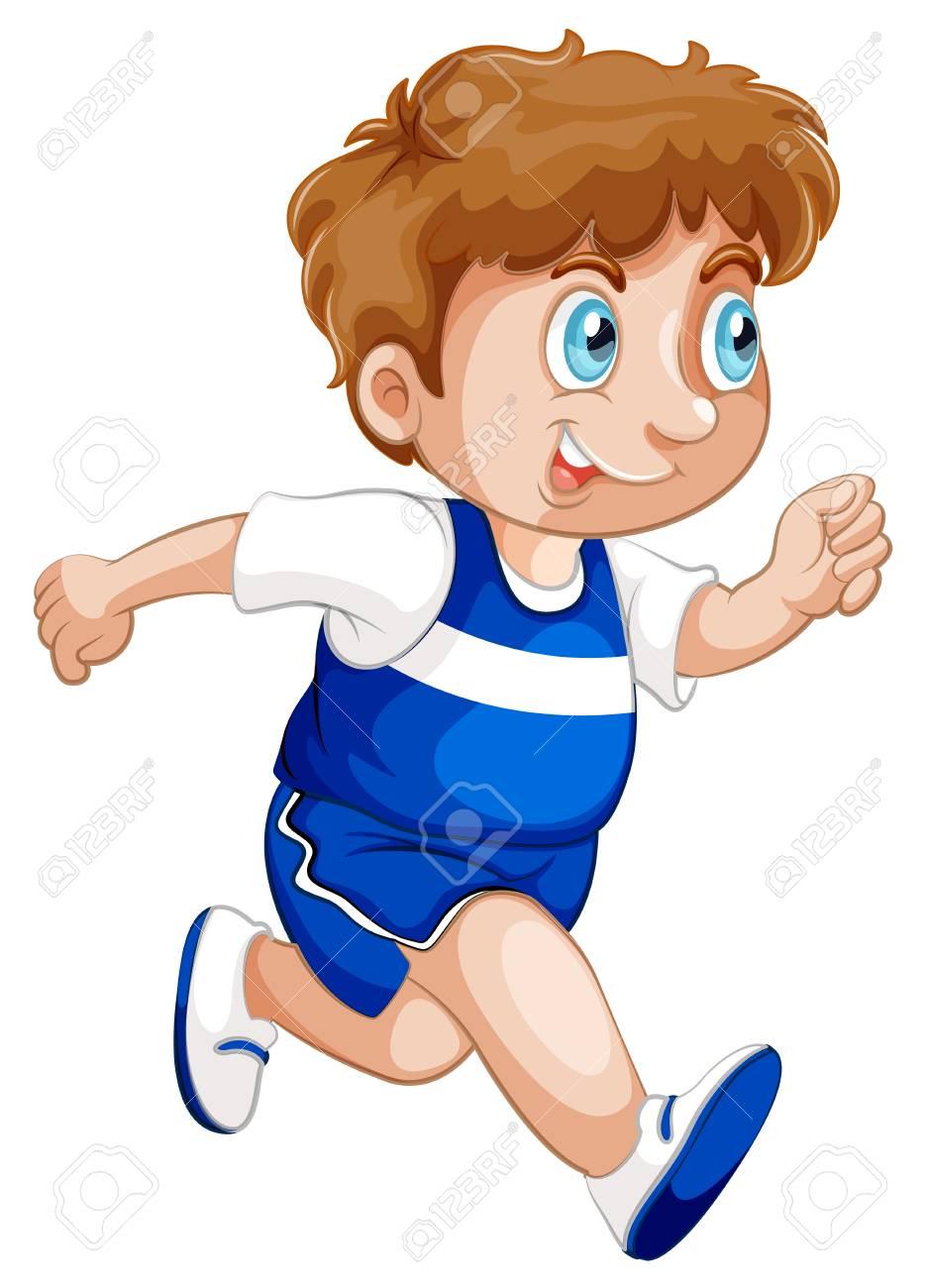 A boy running character illustration - 125275454
