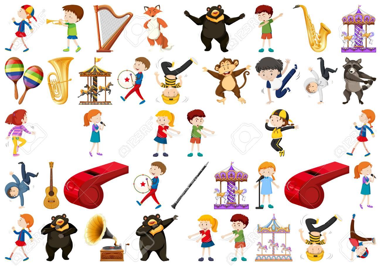 Set of music instrument illustration - 124593359