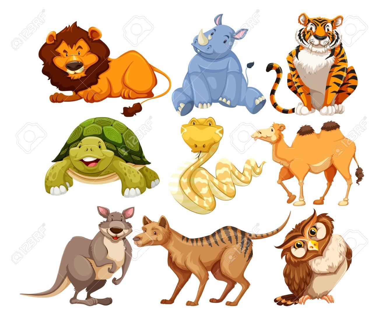 Set of wild animals illustration - 124283388